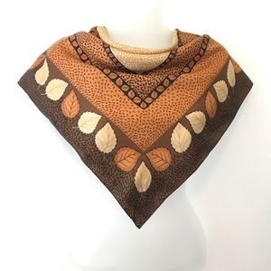 Twill Brown scarf square leafs pattern  Vintage